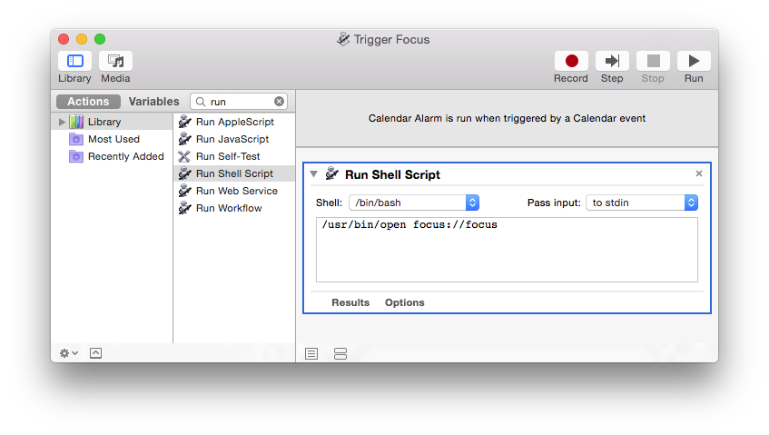 Add run scripts that invoke Focus for automator workflow
