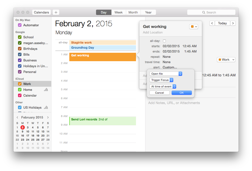 Create custom alert on calendar to invoke Focus scripts