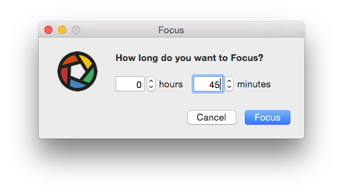 Focus custom time window