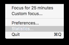 Focus statistics menu bar dropdown