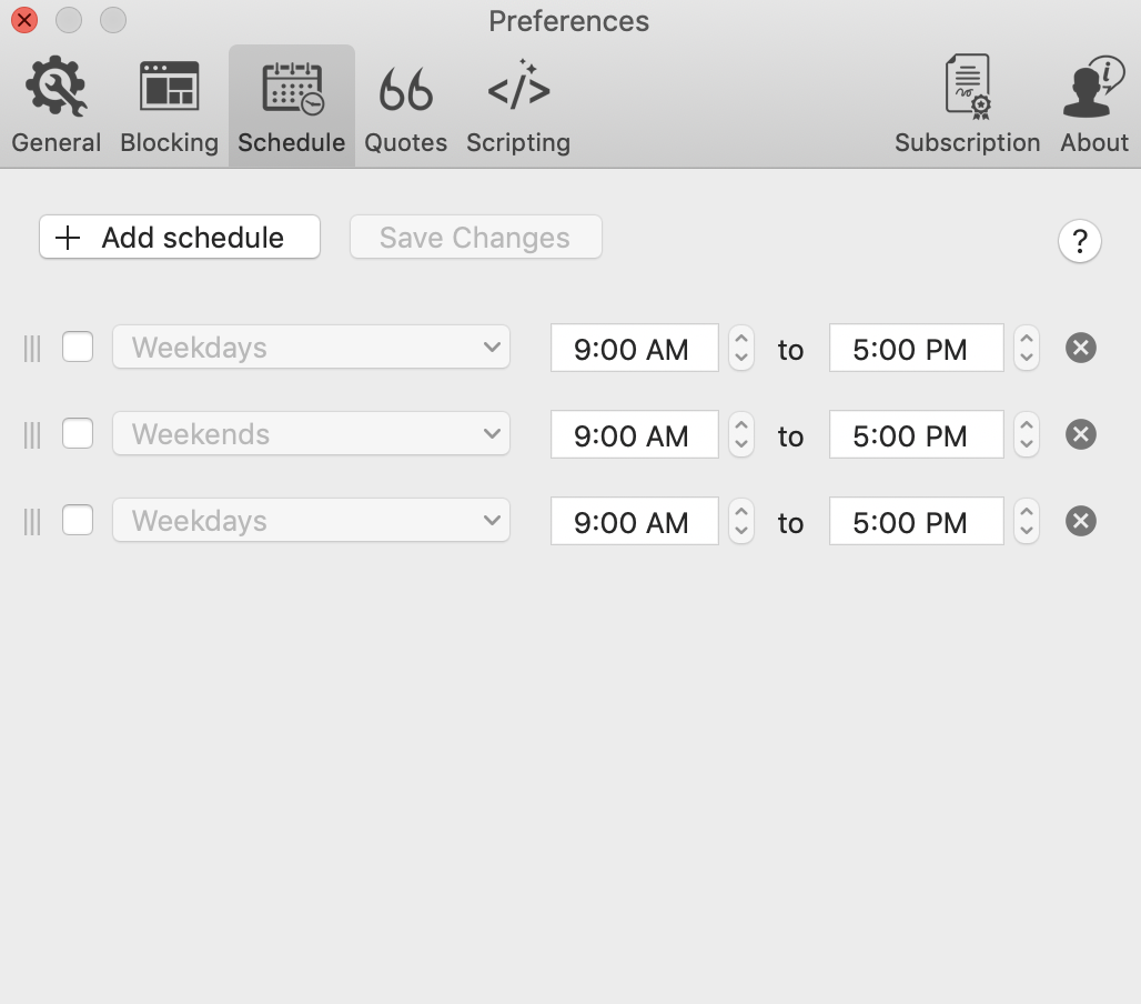Accessing the Schedule feature in Focus from the Preferences menu.