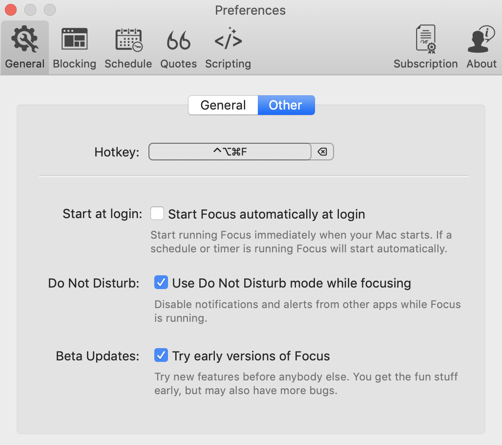 Accessing the Global Hotkey feature in Focus from the Preferences menu