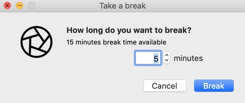 Taking a Custom Break in the Focus app when Break Mode is enabled