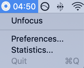Deactivating Focus by clicking on the menubar icon and selecting Unfocus