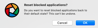 reset blocked applications?