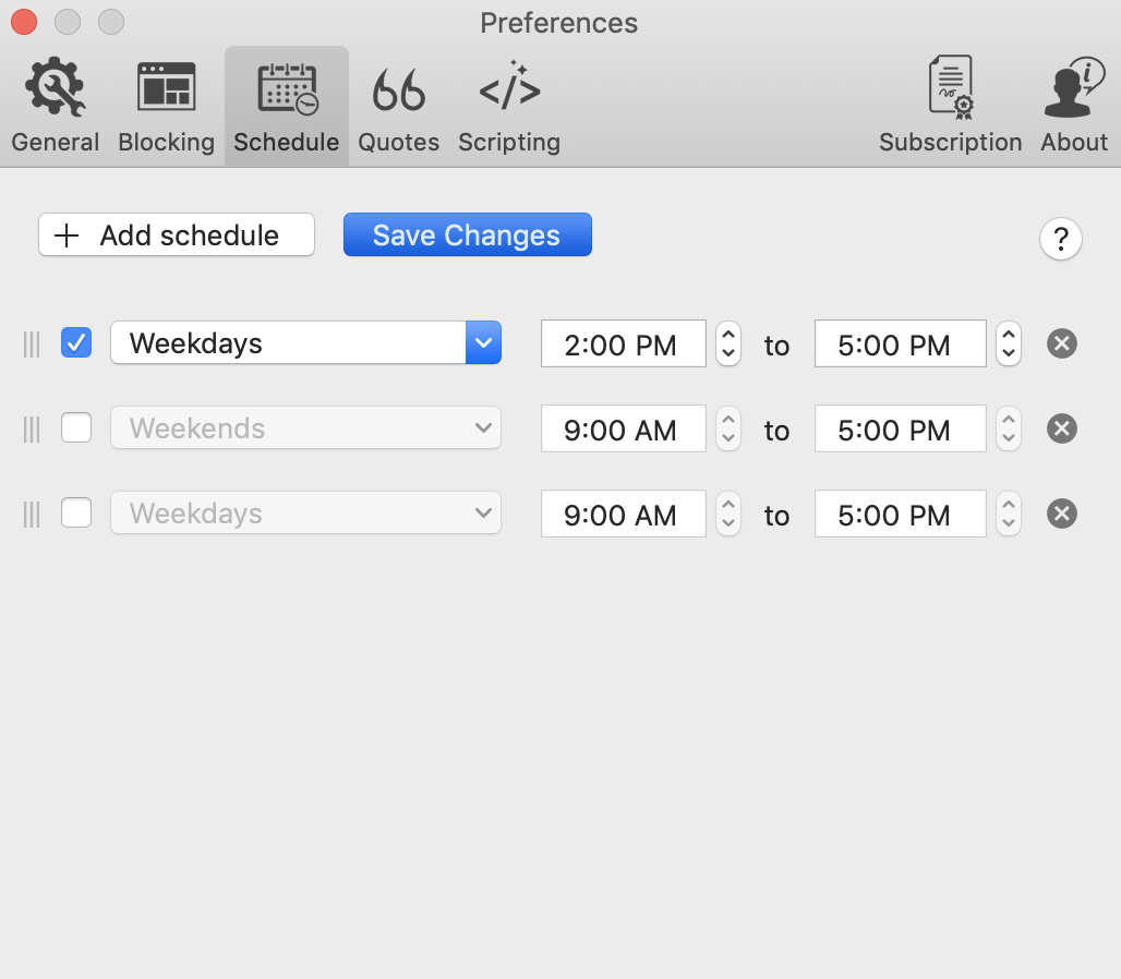 active or modify a schedule in focus