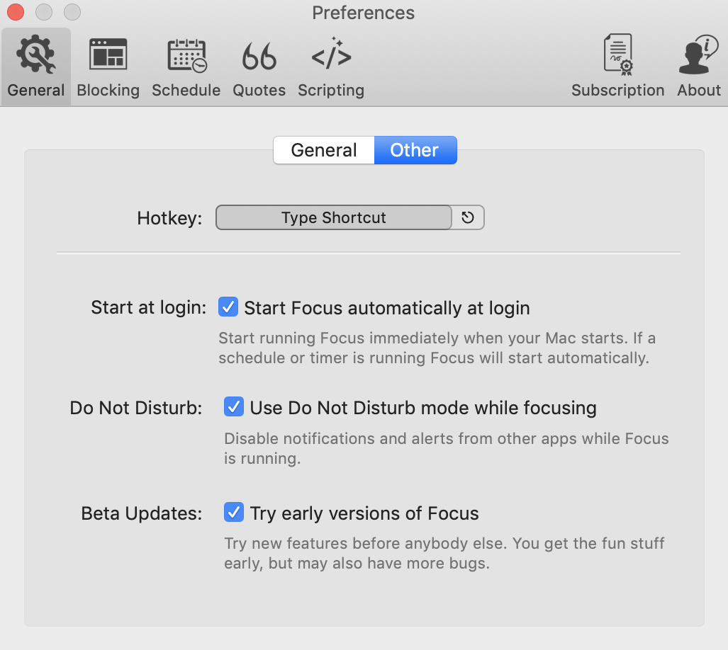 typing in new keyboard shortcut for focus