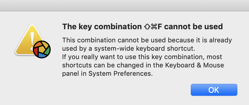 the key combination cannot be used