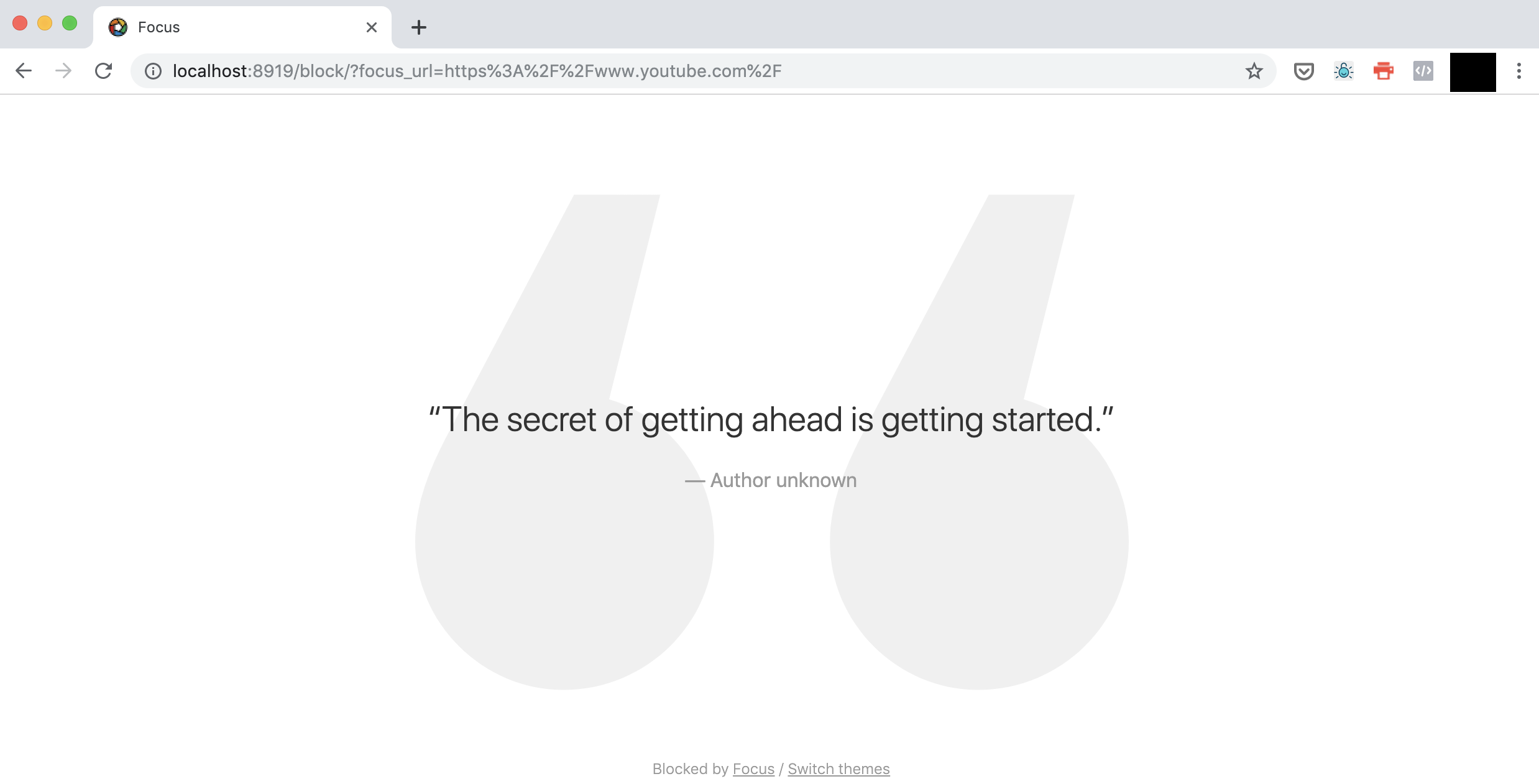 blocked website replaced by a quote