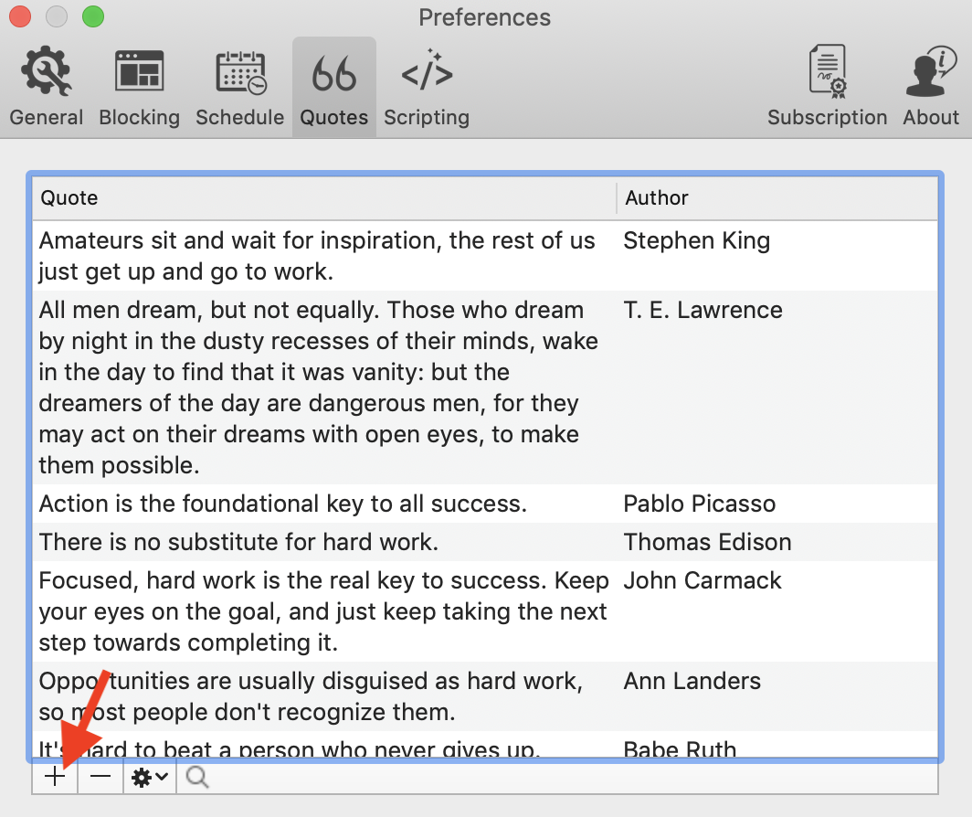 pressing button to add quotes into focus