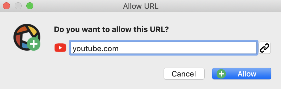 do you want to allow this URL?