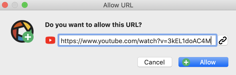 do you want to allow this URL? specific web page