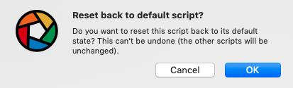 reset back to default script?